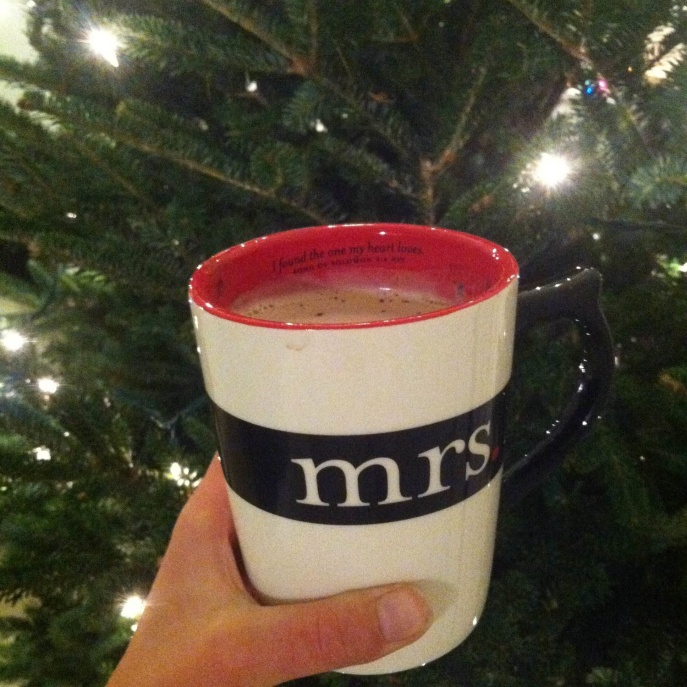 Hot cocoa in hand & all ready to decorate the Christmas tree!