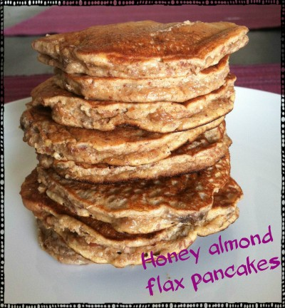 Honey almond flax pancakes