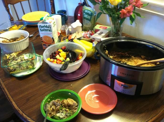Running group breakfast spread