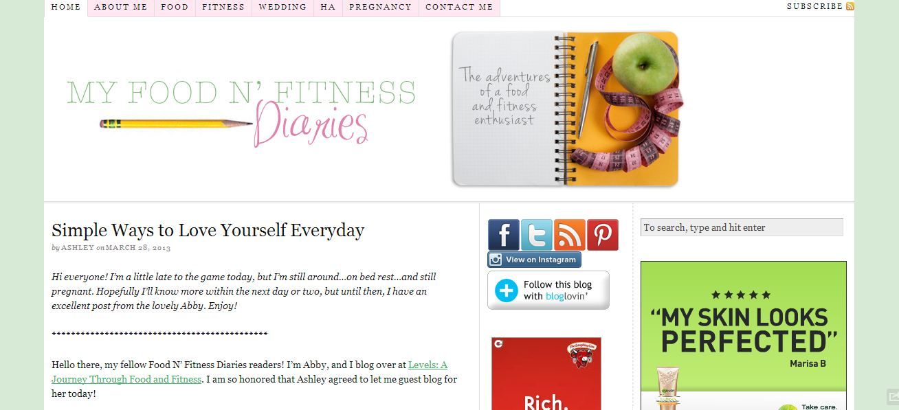 food and fitness diaries