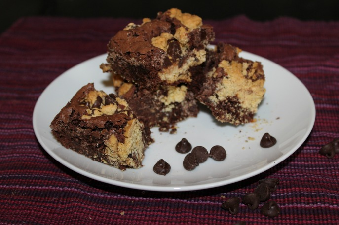 Peanut butter chocolate chip cookie brownies via Levels