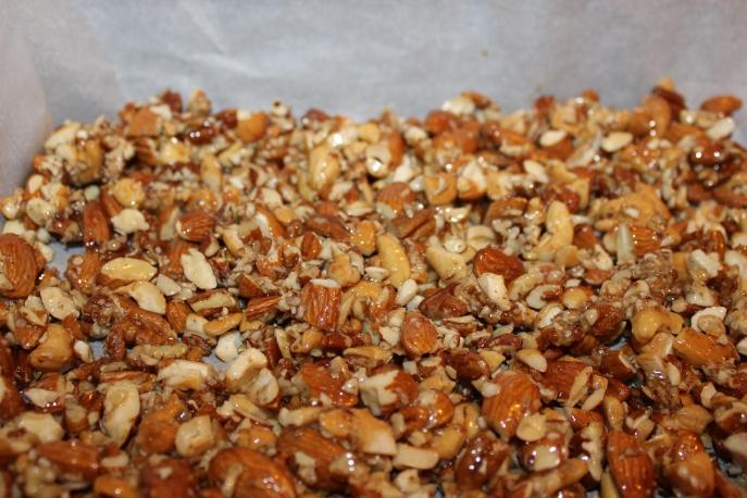 Almond cashew pecan nut clusters