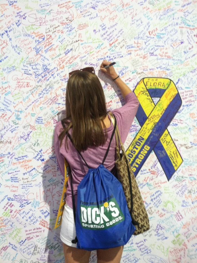 Signing the wall to commemorate Boston. #bostonstrong