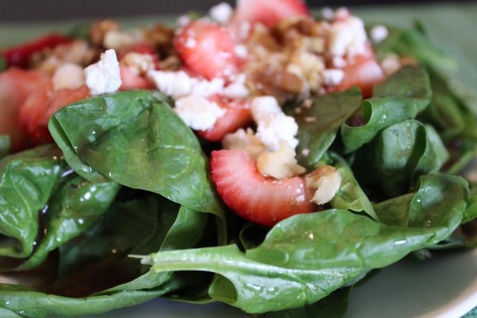 Spinach strawberry feta salad