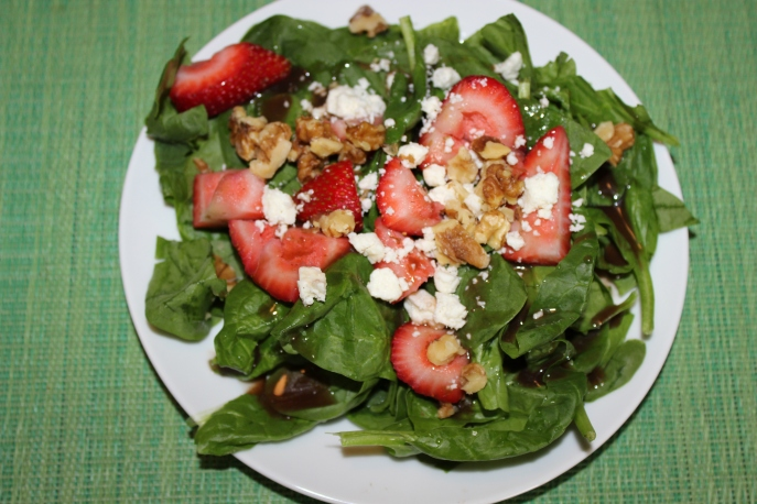 Spinach strawberry feta salad